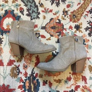 Tan heeled ankle booties